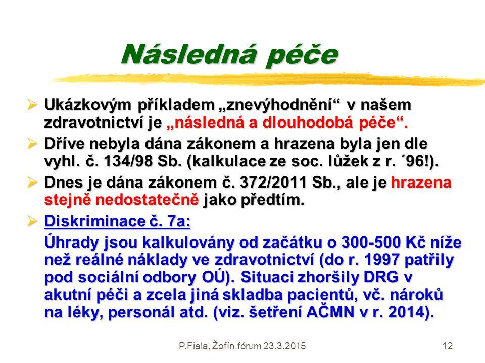 """P.Fiala, Žofín.fórum 23.3.201512 Následná péče  Ukázkovým příkladem """"znevýhodnění"""" v našem zdravotnictví je """"následná a dlouhodobá péče"""".  Dříve neb"""