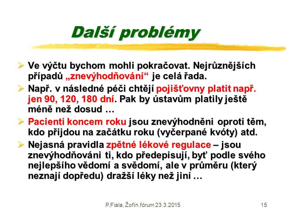 """P.Fiala, Žofín.fórum 23.3.201515 Další problémy  Ve výčtu bychom mohli pokračovat. Nejrůznějších případů """"znevýhodňování"""" je celá řada.  Např. v nás"""