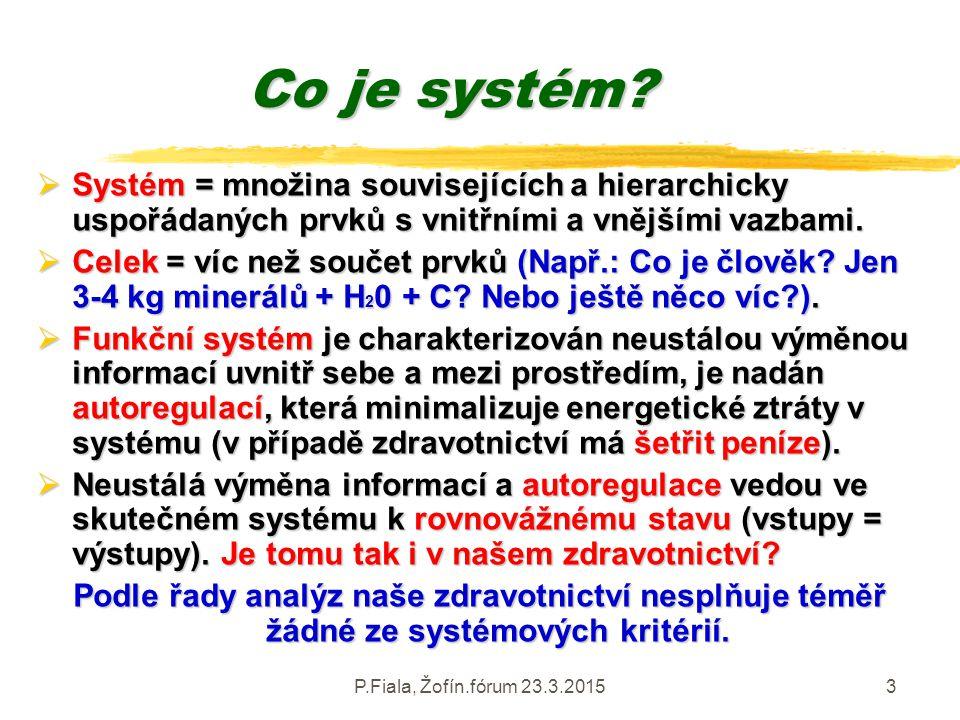 P.Fiala, Žofín.fórum 23.3.20153 Co je systém?  Systém = množina souvisejících a hierarchicky uspořádaných prvků s vnitřními a vnějšími vazbami.  Cel