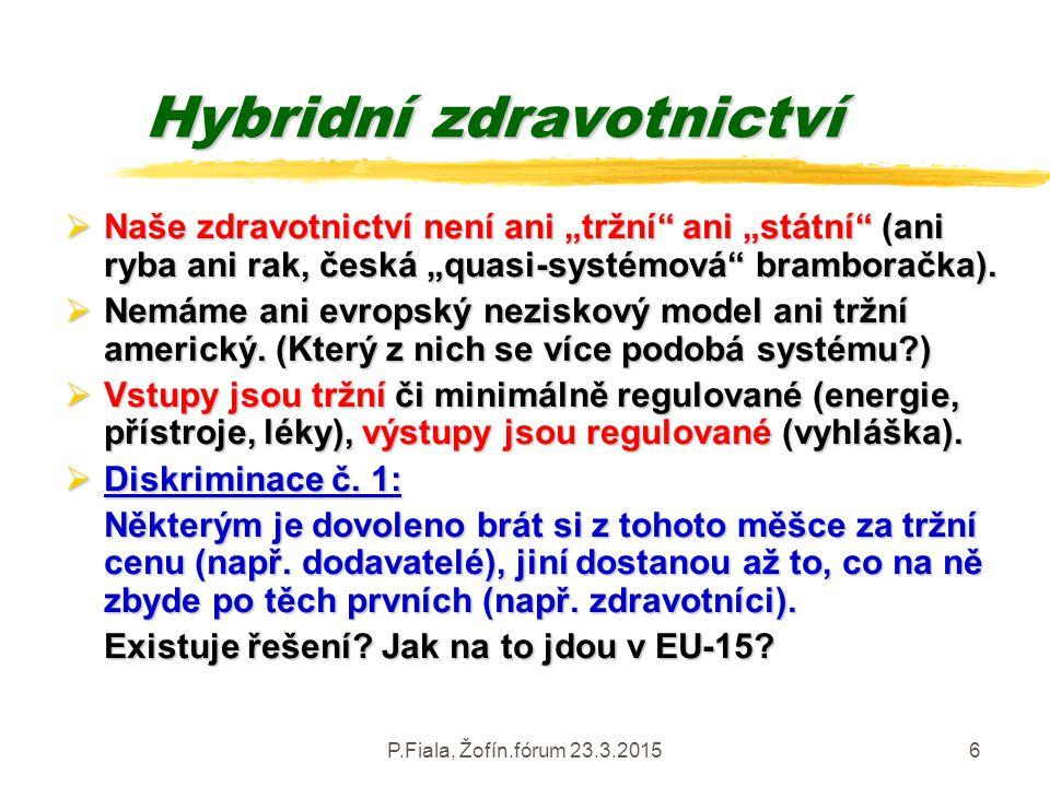 """P.Fiala, Žofín.fórum 23.3.20156 Hybridní zdravotnictví  Naše zdravotnictví není ani """"tržní"""" ani """"státní"""" (ani ryba ani rak, česká """"quasi-systémová"""" b"""