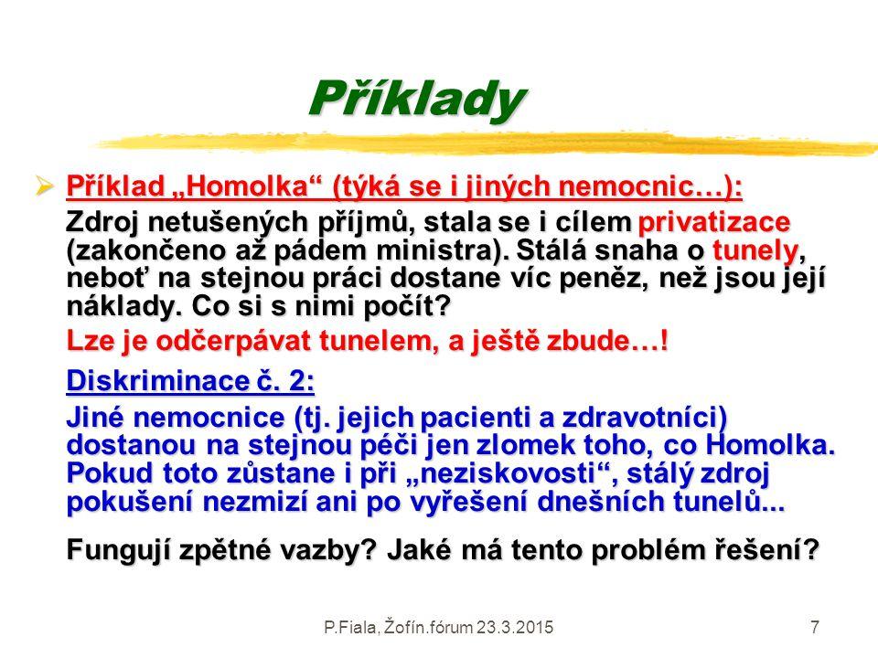 """P.Fiala, Žofín.fórum 23.3.20157 Příklady  Příklad """"Homolka"""" (týká se i jiných nemocnic…): Zdroj netušených příjmů, stala se i cílem privatizace (zako"""