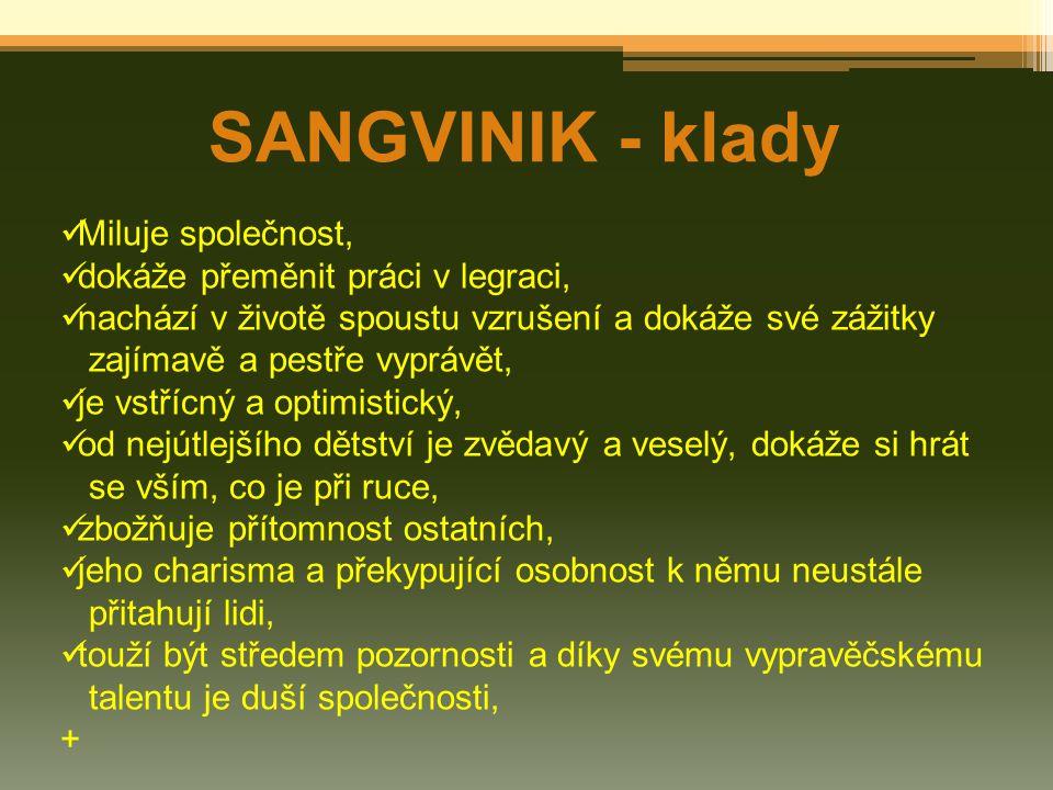 SANGVINIK - klady Miluje společnost, dokáže přeměnit práci v legraci, nachází v životě spoustu vzrušení a dokáže své zážitky zajímavě a pestře vyprávě