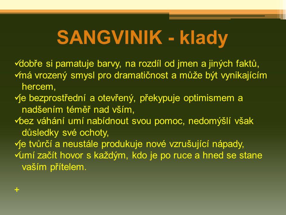 SANGVINIK - klady dobře si pamatuje barvy, na rozdíl od jmen a jiných faktů, má vrozený smysl pro dramatičnost a může být vynikajícím hercem, je bezpr