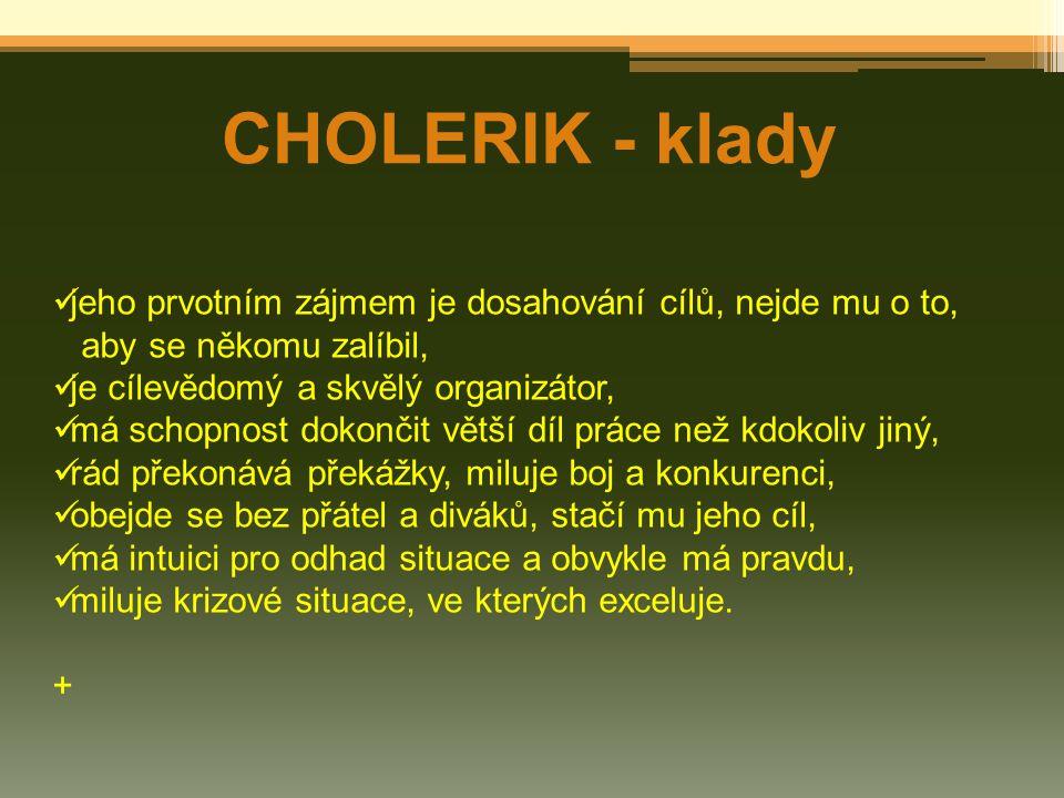 CHOLERIK - klady jeho prvotním zájmem je dosahování cílů, nejde mu o to, aby se někomu zalíbil, je cílevědomý a skvělý organizátor, má schopnost dokon