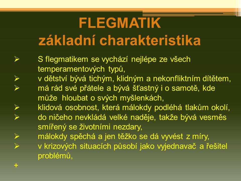 FLEGMATIK základní charakteristika  S flegmatikem se vychází nejlépe ze všech temperamentových typů,  v dětství bývá tichým, klidným a nekonfliktním