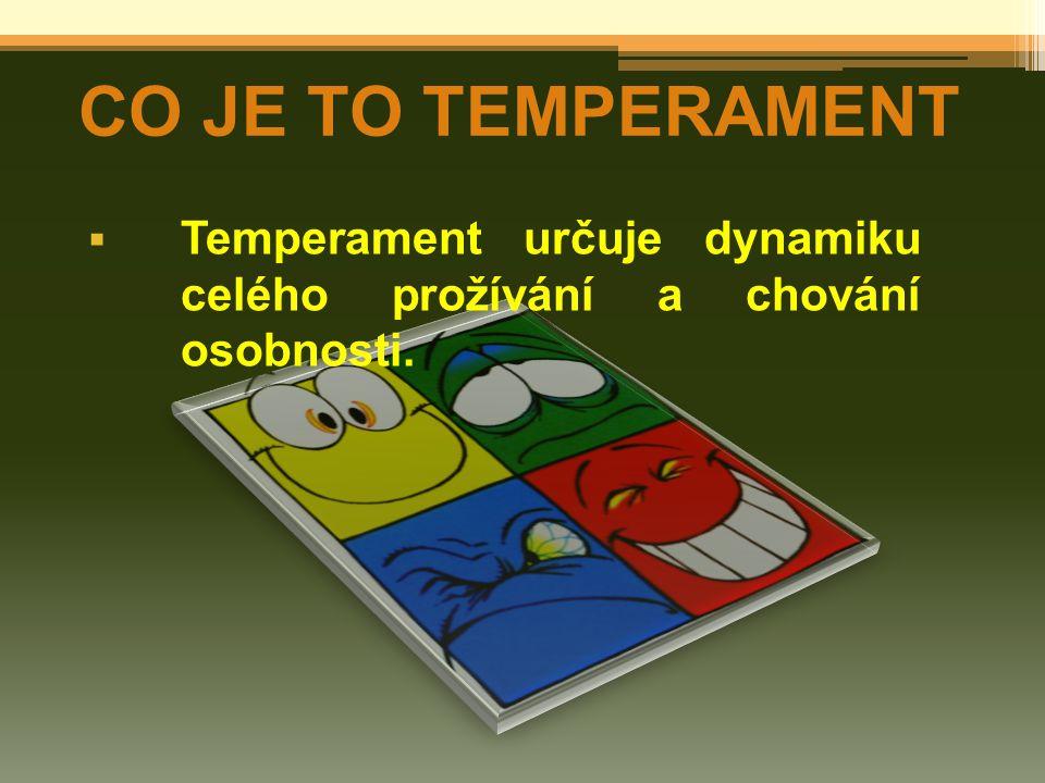  Temperament určuje dynamiku celého prožívání a chování osobnosti. CO JE TO TEMPERAMENT