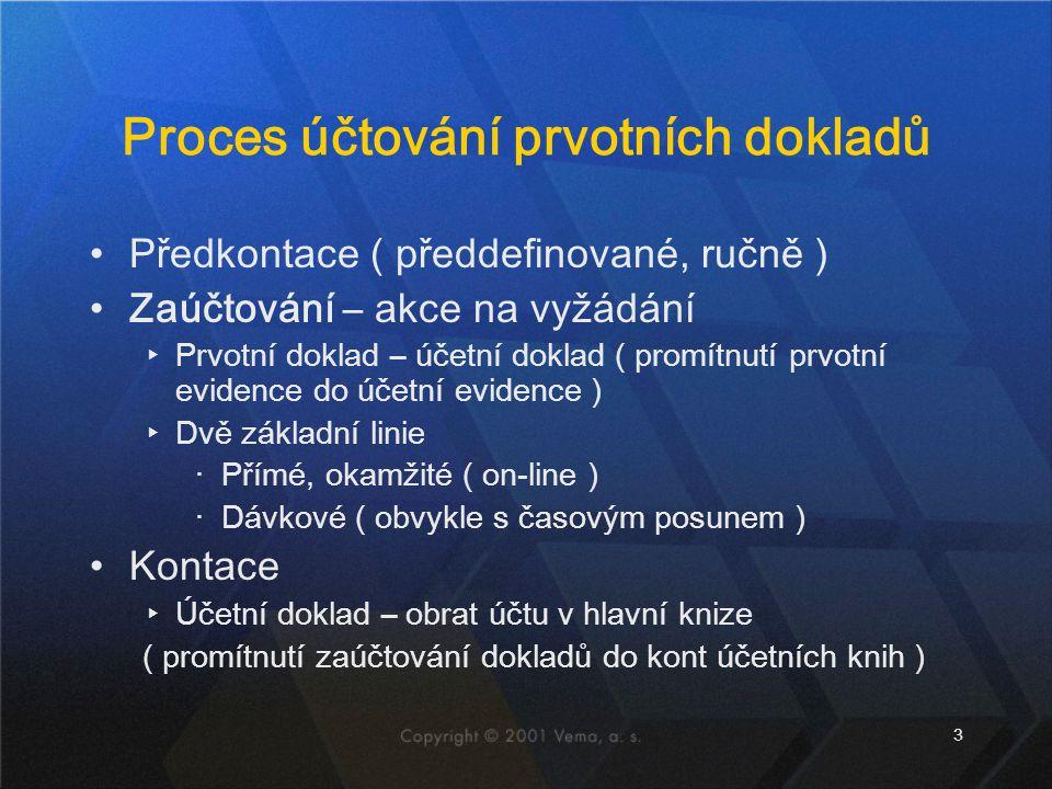 3 Proces účtování prvotních dokladů Předkontace ( předdefinované, ručně ) Zaúčtování – akce na vyžádání ▸Prvotní doklad – účetní doklad ( promítnutí prvotní evidence do účetní evidence ) ▸Dvě základní linie ‧Přímé, okamžité ( on-line ) ‧Dávkové ( obvykle s časovým posunem ) Kontace ▸Účetní doklad – obrat účtu v hlavní knize ( promítnutí zaúčtování dokladů do kont účetních knih )