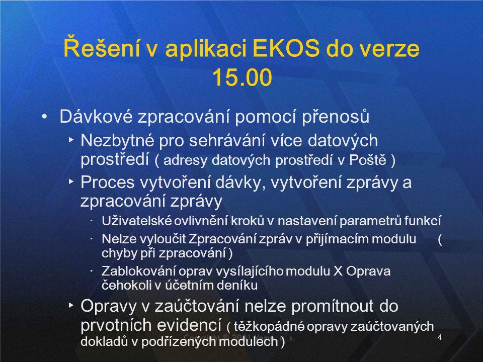 5 Od verze 15.00 Propojení datových adresářů ( adresy datových prostředí jsou v Centrální správě ) ▸Není nutné používat pro spolupráci Pošty Propojení aplikací EKOS přes Centrální správu ▸Pohled z prvotních evidencí do účetnictví a naopak Deník upraven na dokladovou evidenci ▸ položky z řádků vytaženy do hlaviček dokladů Přímé zaúčtování ▸Jednotlivých dokladů ▸Hromadně ( dávka s vyloučením přenosů )