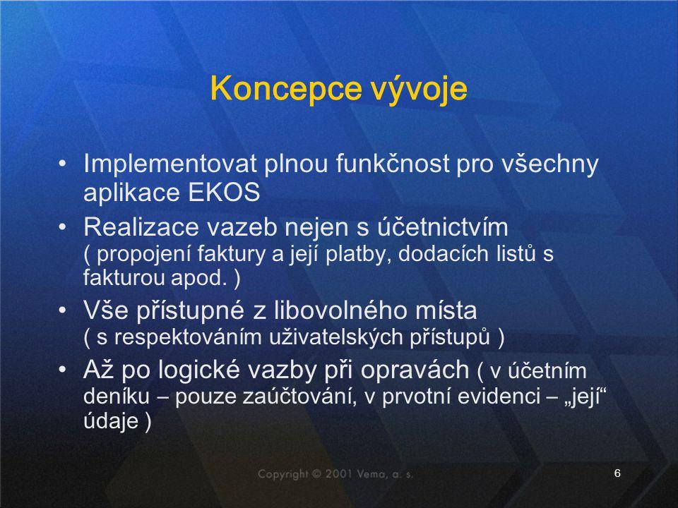 6 Koncepce vývoje Implementovat plnou funkčnost pro všechny aplikace EKOS Realizace vazeb nejen s účetnictvím ( propojení faktury a její platby, dodac