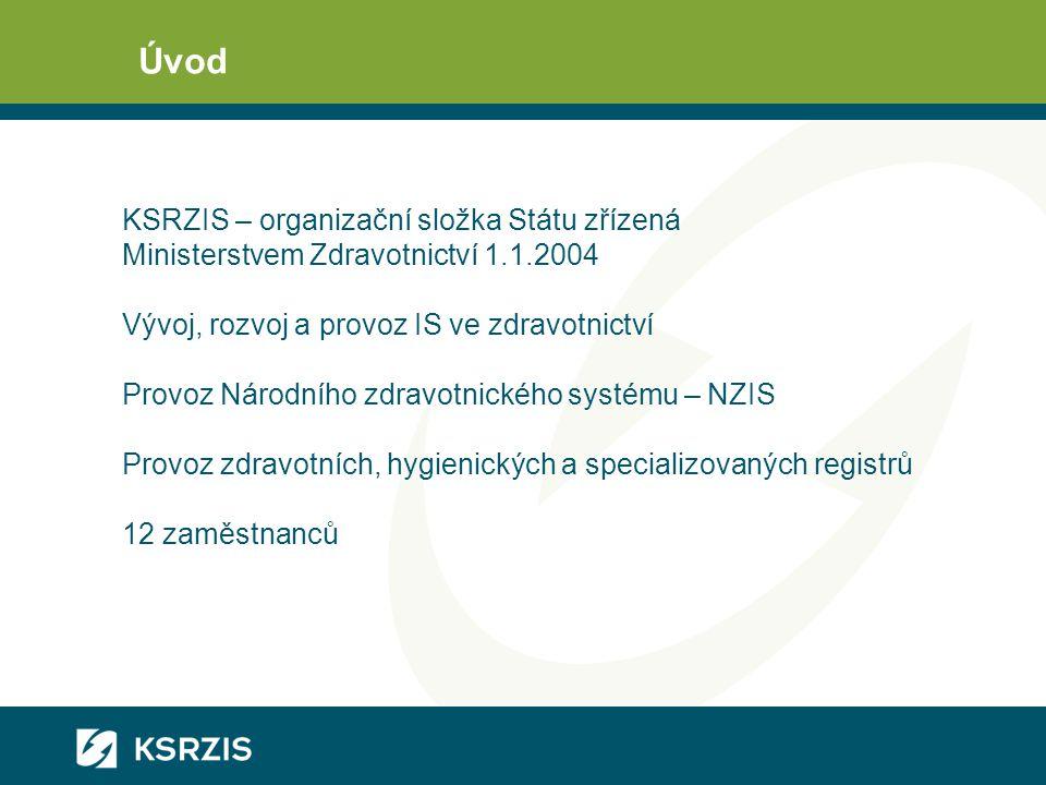 Úvod KSRZIS – organizační složka Státu zřízená Ministerstvem Zdravotnictví 1.1.2004 Vývoj, rozvoj a provoz IS ve zdravotnictví Provoz Národního zdravo