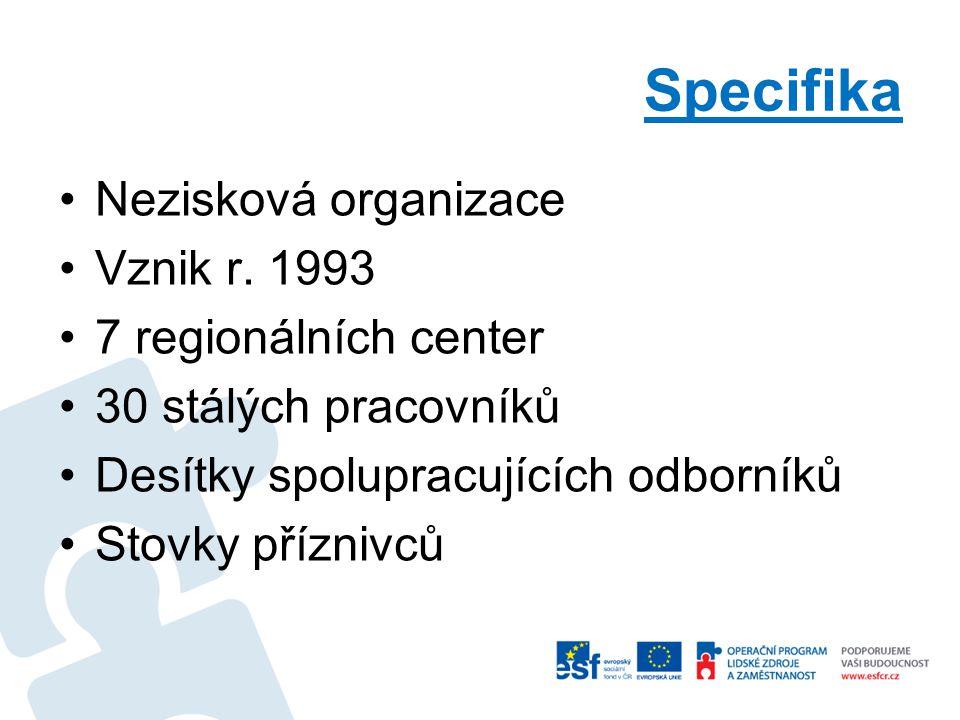 Specifika Nezisková organizace Vznik r.