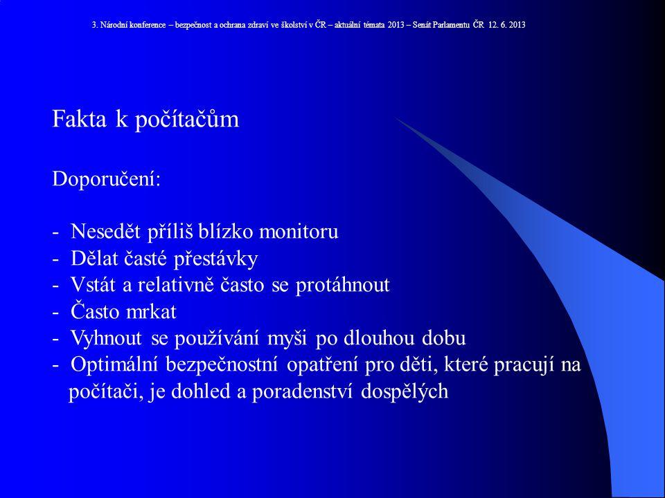 3. Národní konference – bezpečnost a ochrana zdraví ve školství v ČR – aktuální témata 2013 – Senát Parlamentu ČR 12. 6. 2013 Fakta k počítačům Doporu