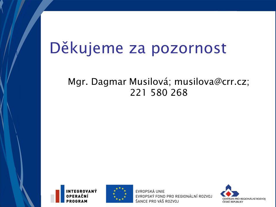Děkujeme za pozornost Mgr. Dagmar Musilová; musilova@crr.cz; 221 580 268