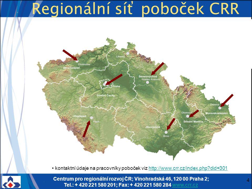 Centrum pro regionální rozvoj ČR; Vinohradská 46, 120 00 Praha 2; Tel.: + 420 221 580 201; Fax: + 420 221 580 284 www.crr.czwww.crr.cz 4 Regionální síť poboček CRR kontaktní údaje na pracovníky poboček viz http://www.crr.cz/index.php did=301http://www.crr.cz/index.php did=301