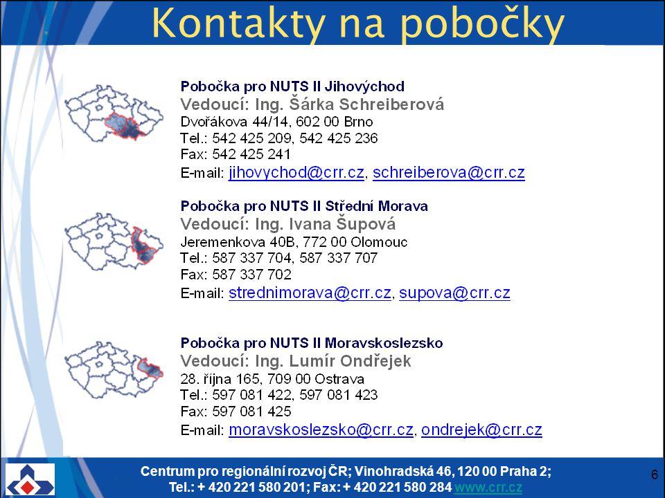 Centrum pro regionální rozvoj ČR; Vinohradská 46, 120 00 Praha 2; Tel.: + 420 221 580 201; Fax: + 420 221 580 284 www.crr.czwww.crr.cz 6 Kontakty na pobočky