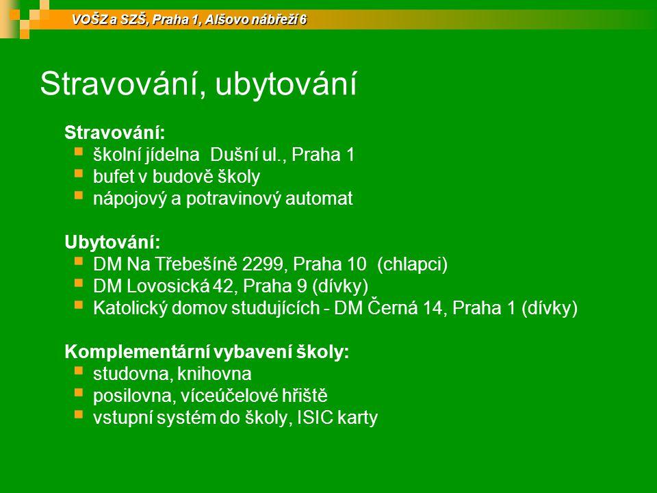 Stravování, ubytování Stravování:  školní jídelna Dušní ul., Praha 1  bufet v budově školy  nápojový a potravinový automat Ubytování:  DM Na Třebe