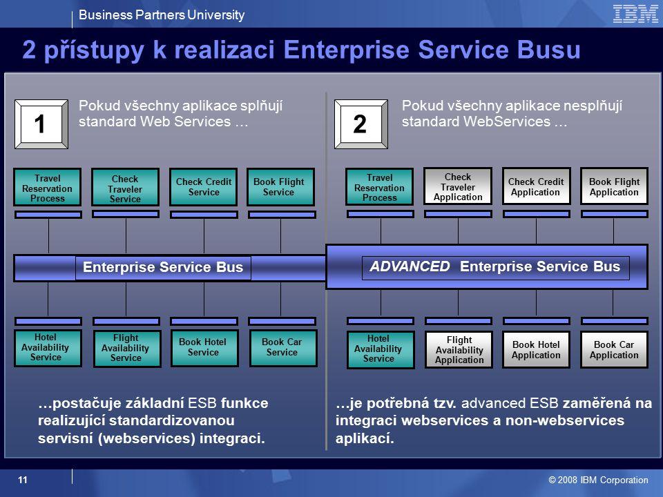 Business Partners University © 2008 IBM Corporation 11 2 přístupy k realizaci Enterprise Service Busu Pokud všechny aplikace splňují standard Web Services … Pokud všechny aplikace nesplňují standard WebServices … …postačuje základní ESB funkce realizující standardizovanou servisní (webservices) integraci.