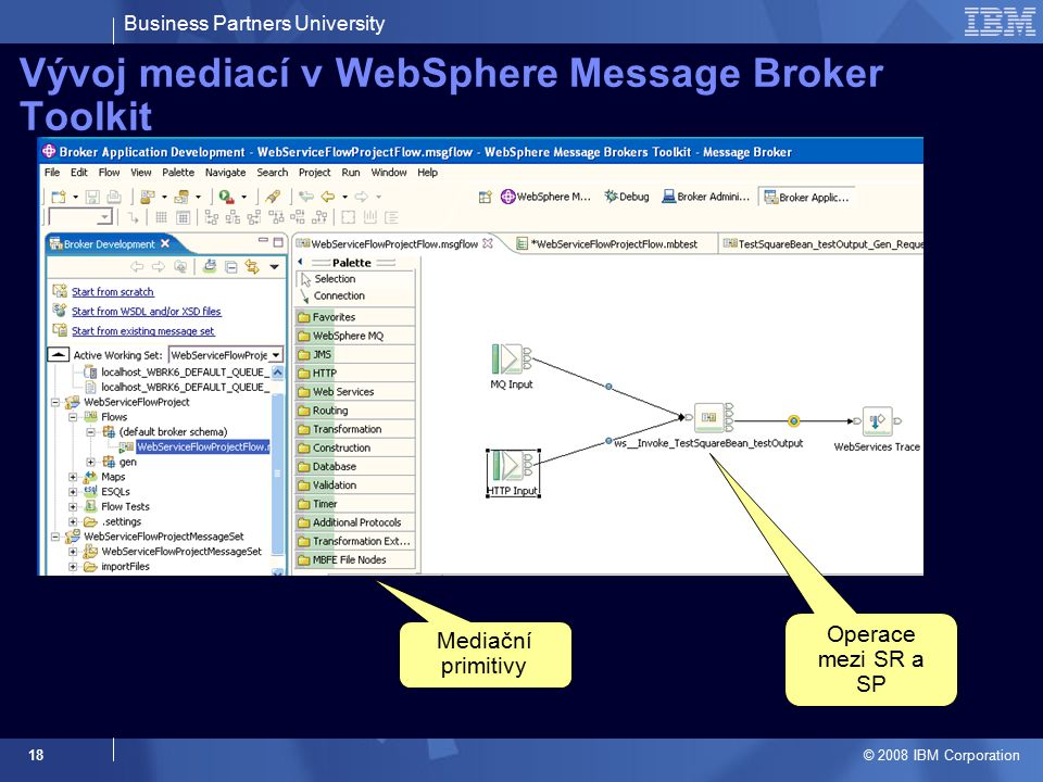 Business Partners University © 2008 IBM Corporation 18 Vývoj mediací v WebSphere Message Broker Toolkit Operace mezi SR a SP Mediační primitivy