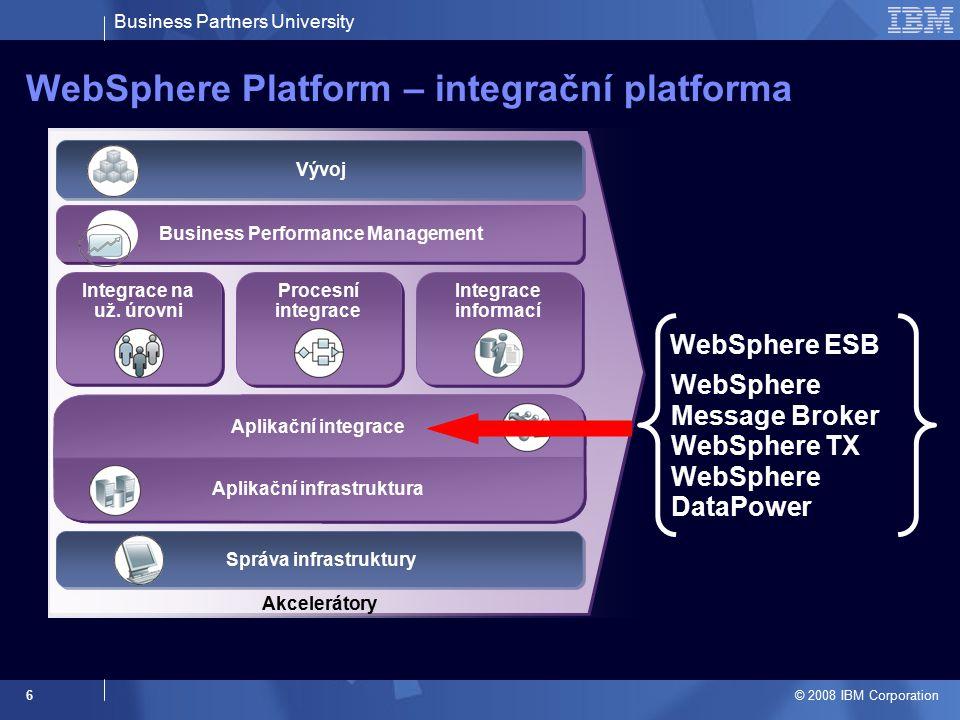 Business Partners University © 2008 IBM Corporation 17 WebSphere Message Broker Univerzální integrační nástroj na základě ESB principů Integrace aplikací na bázi Web Services, tradičních protokolů (WebSphere MQ), i nestadardních komunikačních kanálů (SCADA), realtime kanálů (broadcasting) a mobilních zařízení Možnost integrace aplikací na libovolné platformě, zařízení, API apod.