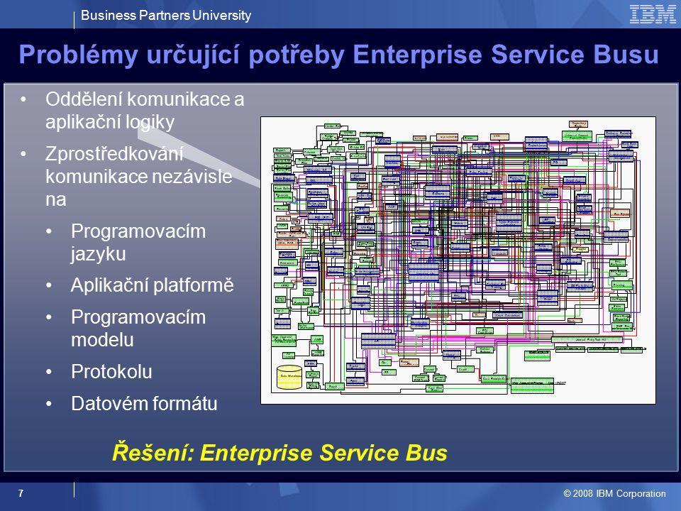 Business Partners University © 2008 IBM Corporation 8 SOA bez ESB separuje rozhraní z aplikací… Transformujme toto… …na toto Application Funkce aplikací jsou znovupoužitelné Separujeme aplikační rozhraní a komunikační logiku Redukuje se komplexita rozhraní Funkce aplikací je k dispozici prostřednictvím rozrhaní (API) Uvedené řešení neřeší otázku tzv.