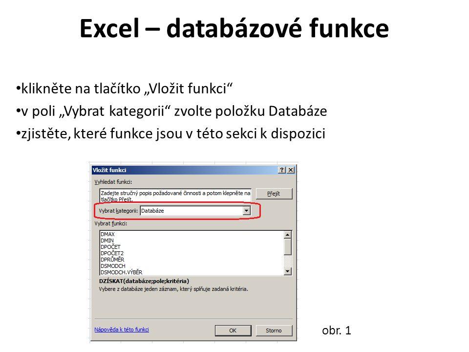 """Excel – databázové funkce klikněte na tlačítko """"Vložit funkci v poli """"Vybrat kategorii zvolte položku Databáze zjistěte, které funkce jsou v této sekci k dispozici obr."""