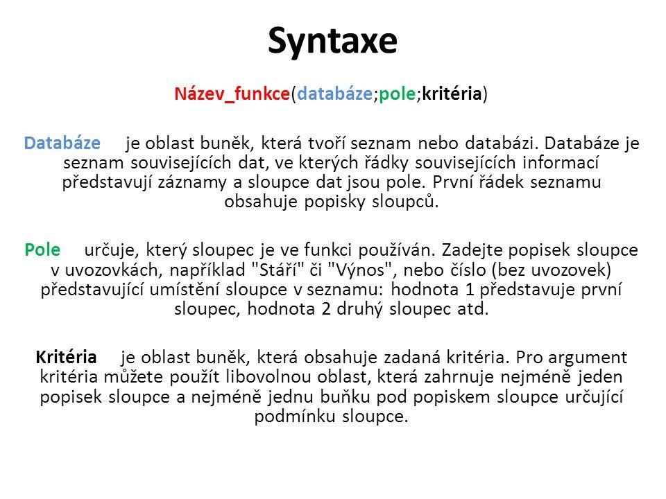 Syntaxe Název_funkce(databáze;pole;kritéria) Databáze je oblast buněk, která tvoří seznam nebo databázi.