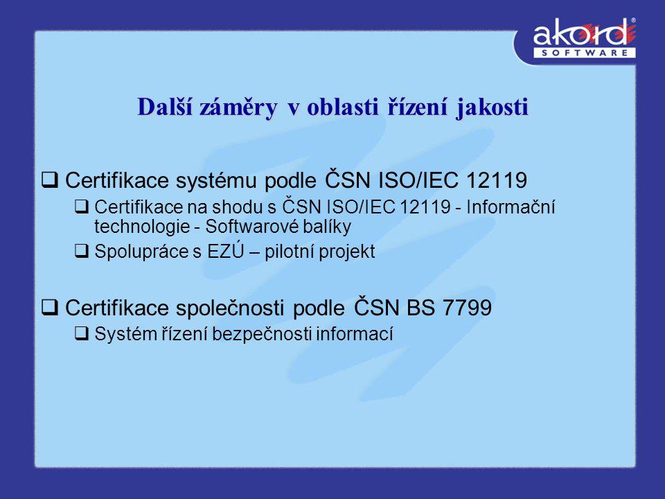 Další záměry v oblasti řízení jakosti  Certifikace systému podle ČSN ISO/IEC 12119  Certifikace na shodu s ČSN ISO/IEC 12119 - Informační technologie - Softwarové balíky  Spolupráce s EZÚ – pilotní projekt  Certifikace společnosti podle ČSN BS 7799  Systém řízení bezpečnosti informací