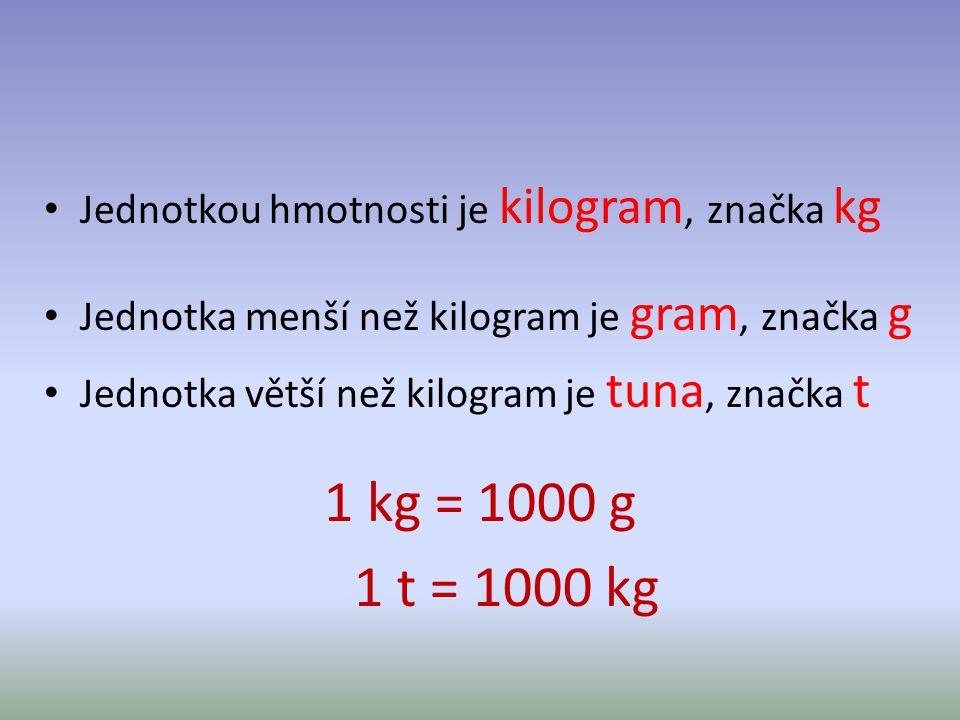 Jednotkou hmotnosti je kilogram, značka kg Jednotka menší než kilogram je gram, značka g Jednotka větší než kilogram je tuna, značka t 1 kg = 1000 g 1