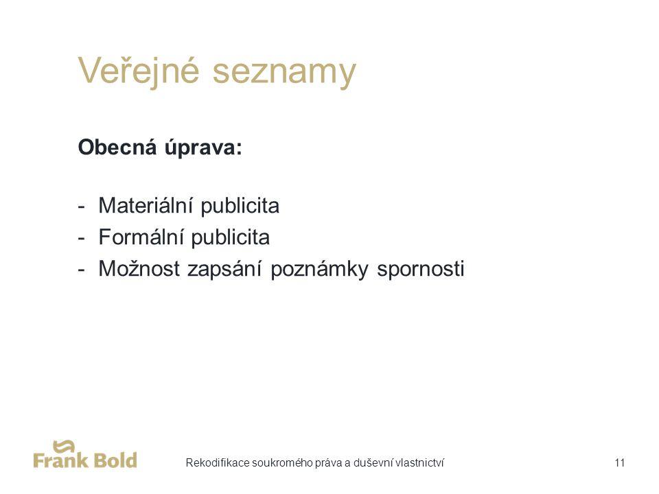 Veřejné seznamy Obecná úprava: -Materiální publicita -Formální publicita -Možnost zapsání poznámky spornosti 11Rekodifikace soukromého práva a duševní vlastnictví