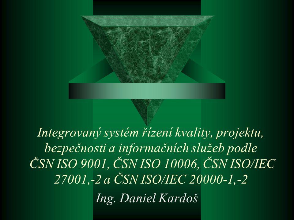 Doporučená skupina standardů pro odbor, oddělení IT (poskytovatel IT služeb)  ISO 9001 Systémy managementu jakosti  ISO 10006 Směrnice pro management jakosti projektů  ISO 19011 Směrnice pro auditování systému managementu jakosti  ISO/IEC 27001 Systémy managementu bezpečnosti informací  ISO/IEC 17799 Soubor postupů pro management bezpečnosti informací  ISO/IEC 20000-1 Informační technologie - Management služeb  ISO/IEC 20000-2 Soubor postupů pro management služeb