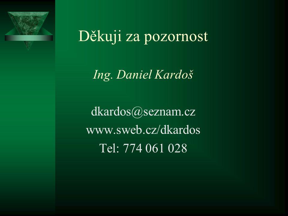 Děkuji za pozornost Ing. Daniel Kardoš dkardos@seznam.cz www.sweb.cz/dkardos Tel: 774 061 028