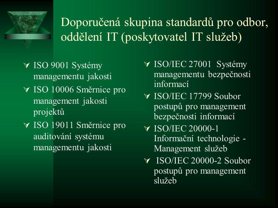 Doporučená skupina standardů pro odbor, oddělení IT (poskytovatel IT služeb)  ISO 9001 Systémy managementu jakosti  ISO 10006 Směrnice pro managemen