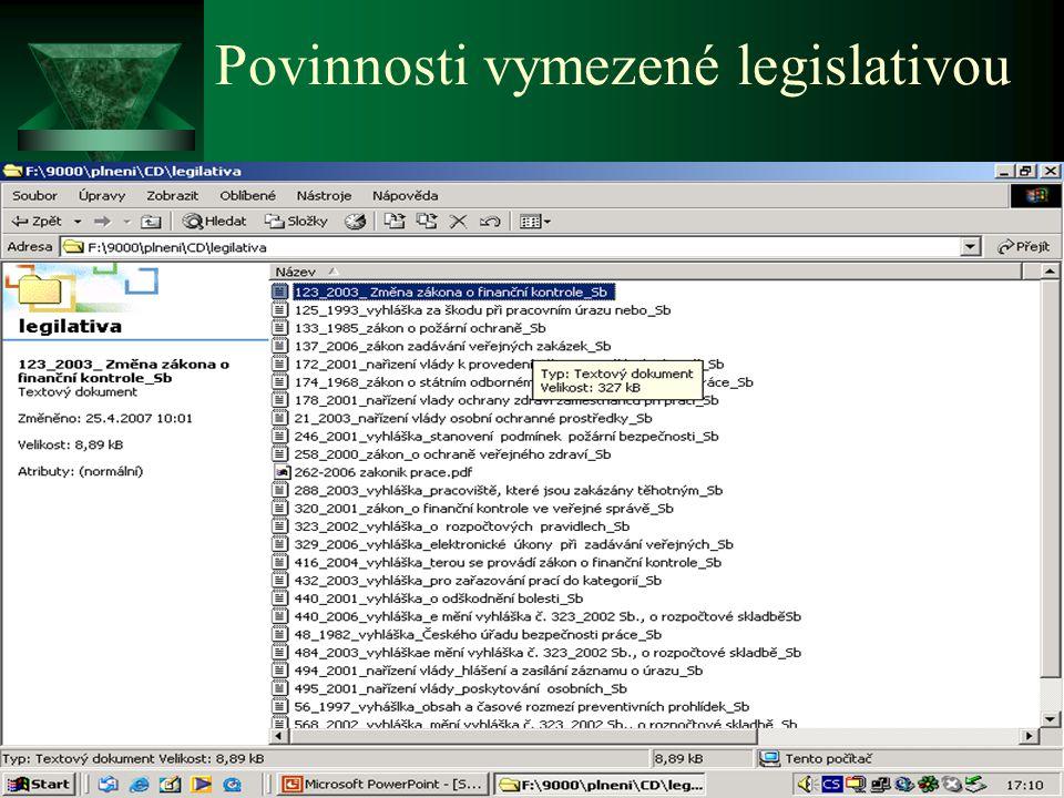Povinnosti vymezené legislativou