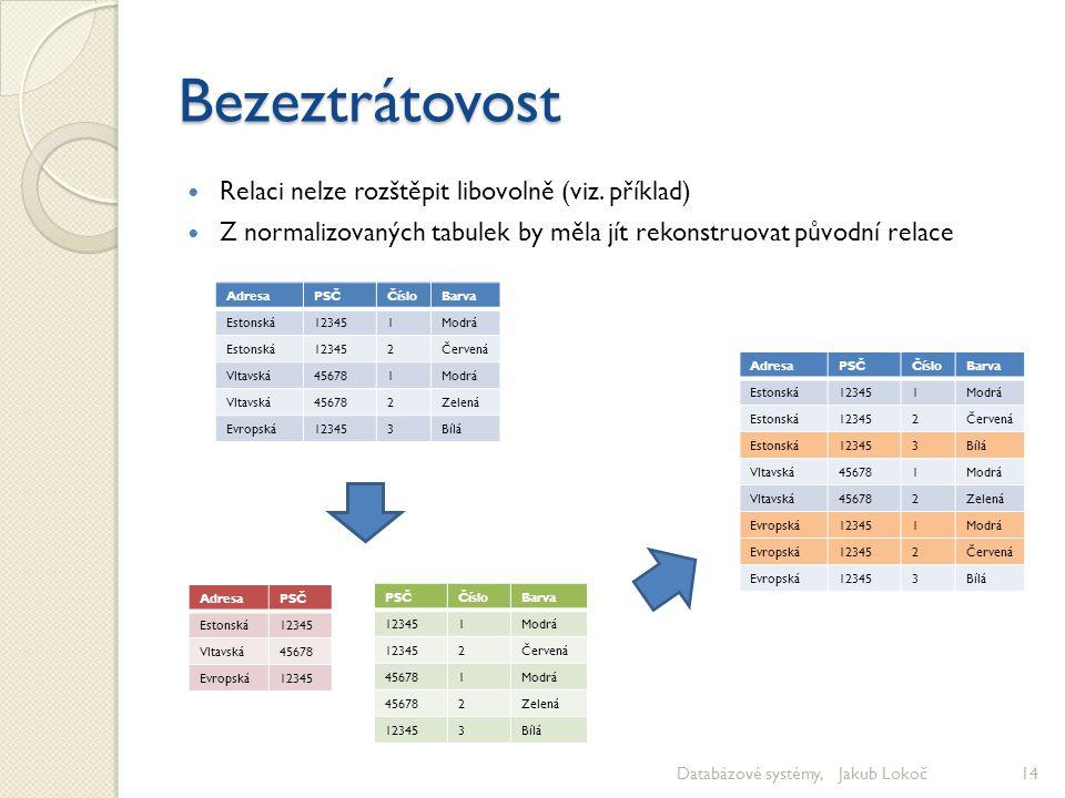 Bezeztrátovost Relaci nelze rozštěpit libovolně (viz. příklad) Z normalizovaných tabulek by měla jít rekonstruovat původní relace Databázové systémy,