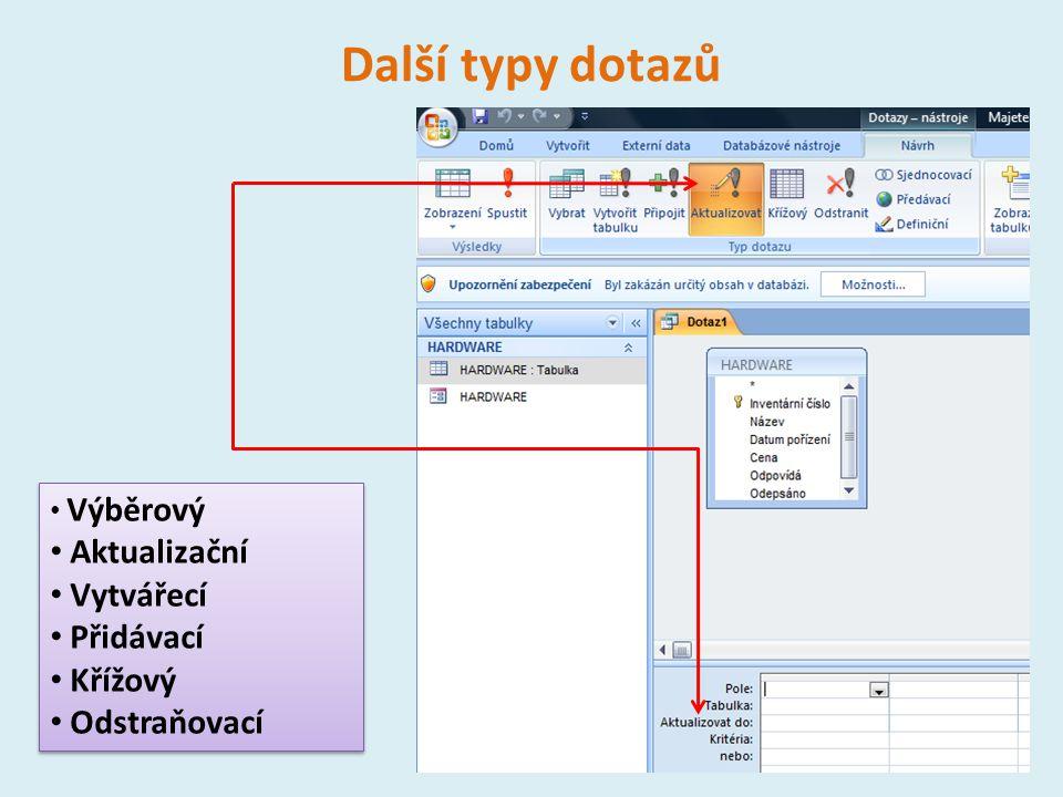 Další typy dotazů 14 Výběrový Aktualizační Vytvářecí Přidávací Křížový Odstraňovací Výběrový Aktualizační Vytvářecí Přidávací Křížový Odstraňovací