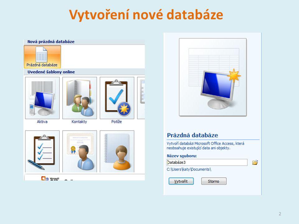 Vytvoření nové databáze 2