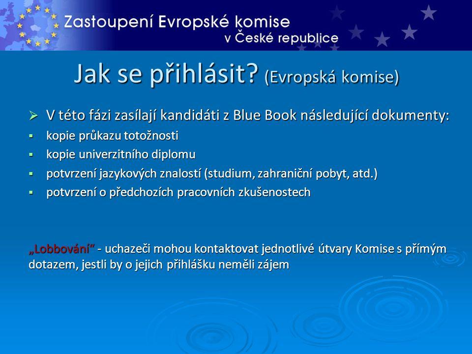 Jak se přihlásit? (Evropská komise)  V této fázi zasílají kandidáti z Blue Book následující dokumenty:  kopie průkazu totožnosti  kopie univerzitní