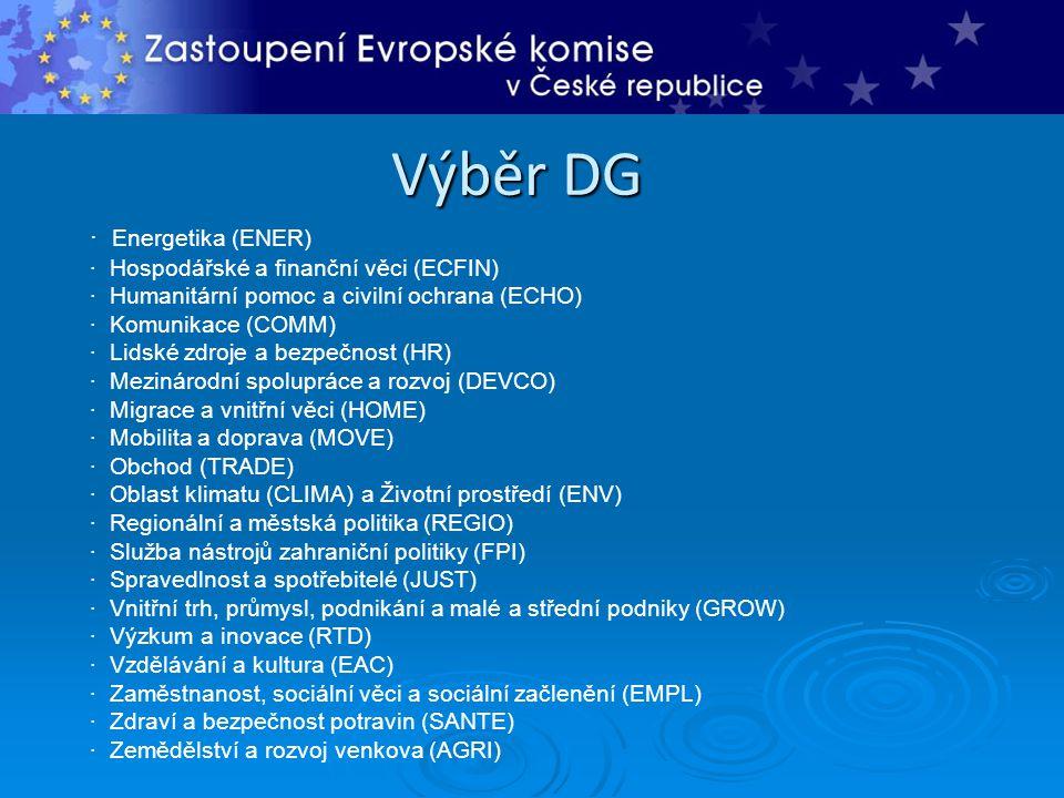 Výběr DG · Energetika (ENER) · Hospodářské a finanční věci (ECFIN) · Humanitární pomoc a civilní ochrana (ECHO) · Komunikace (COMM) · Lidské zdroje a