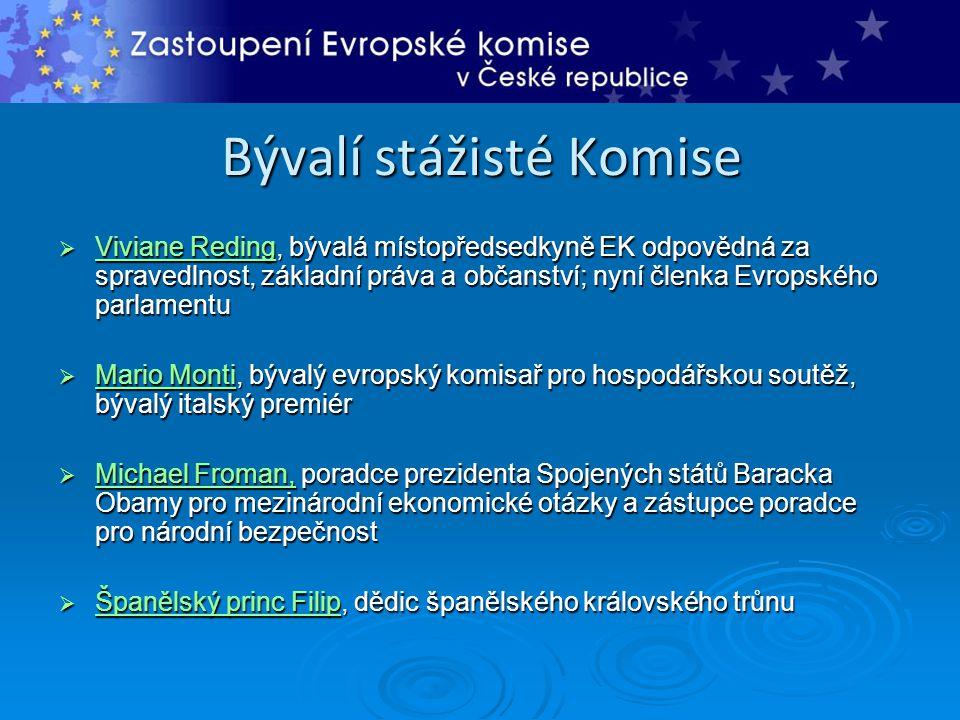 Bývalí stážisté Komise  Viviane Reding, bývalá místopředsedkyně EK odpovědná za spravedlnost, základní práva a občanství; nyní členka Evropského parl