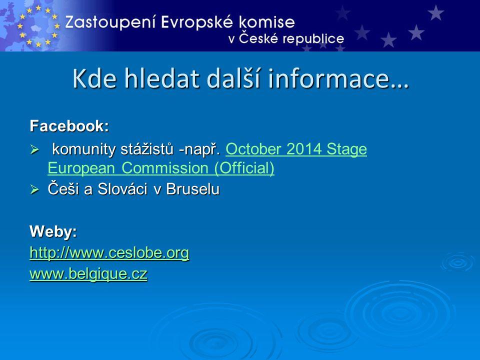 Kde hledat další informace… Facebook:  komunity stážistů -např.  komunity stážistů -např. October 2014 Stage European Commission (Official)October 2