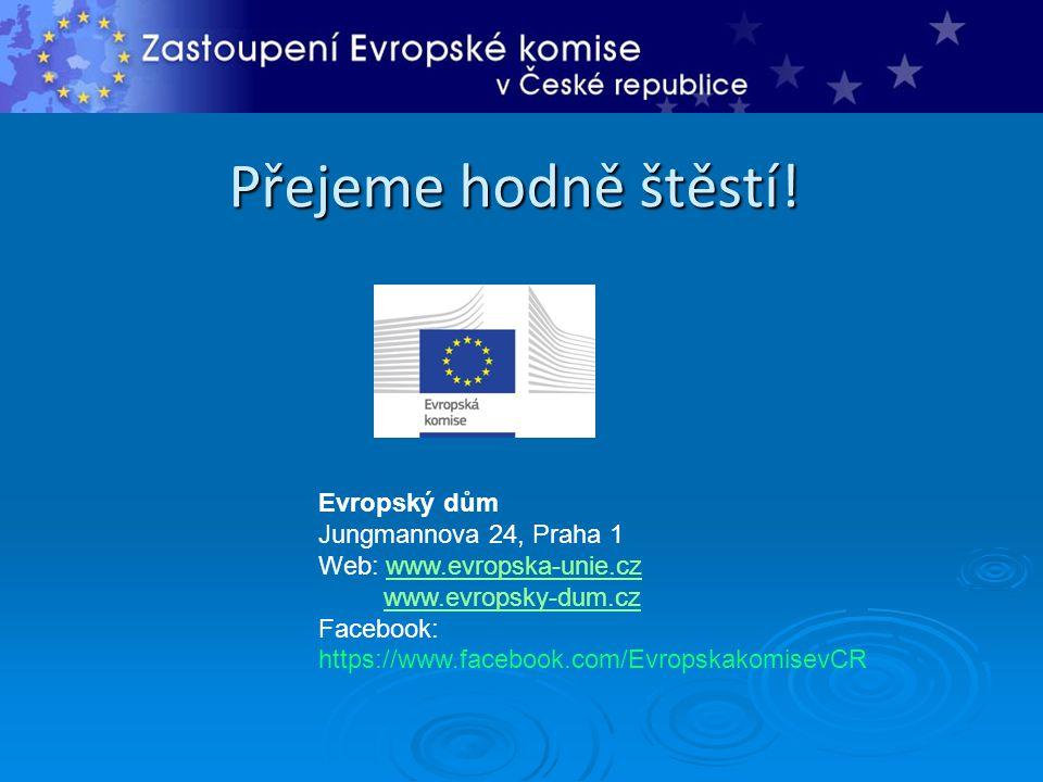 Přejeme hodně štěstí! Evropský dům Jungmannova 24, Praha 1 Web: www.evropska-unie.czwww.evropska-unie.cz www.evropsky-dum.cz Facebook: https://www.fac