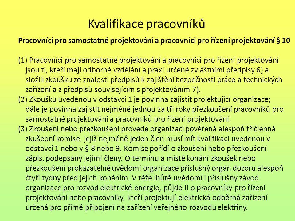 Kvalifikace pracovníků Pracovníci pro samostatné projektování a pracovníci pro řízení projektování § 10 (1) Pracovníci pro samostatné projektování a p