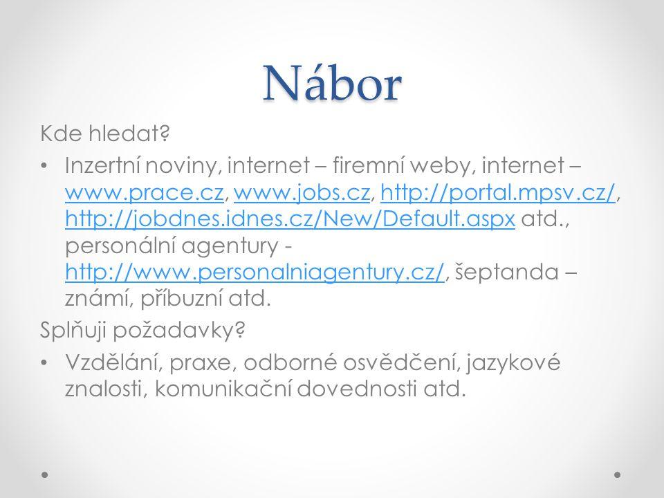 Nábor Kde hledat? Inzertní noviny, internet – firemní weby, internet – www.prace.cz, www.jobs.cz, http://portal.mpsv.cz/, http://jobdnes.idnes.cz/New/