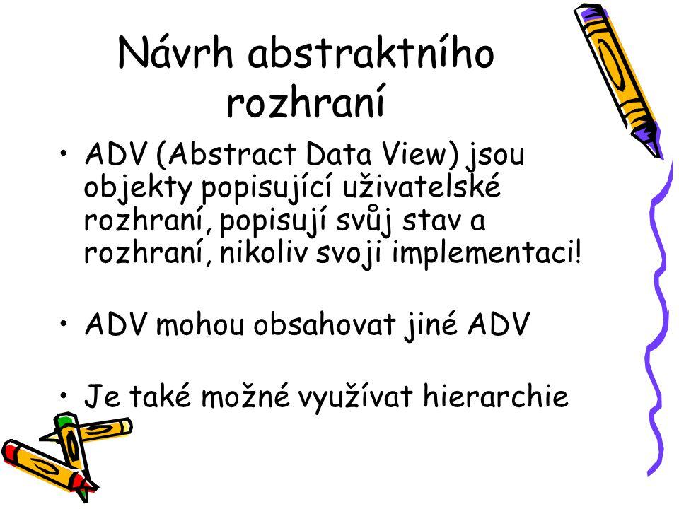 Návrh abstraktního rozhraní ADV (Abstract Data View) jsou objekty popisující uživatelské rozhraní, popisují svůj stav a rozhraní, nikoliv svoji implementaci.
