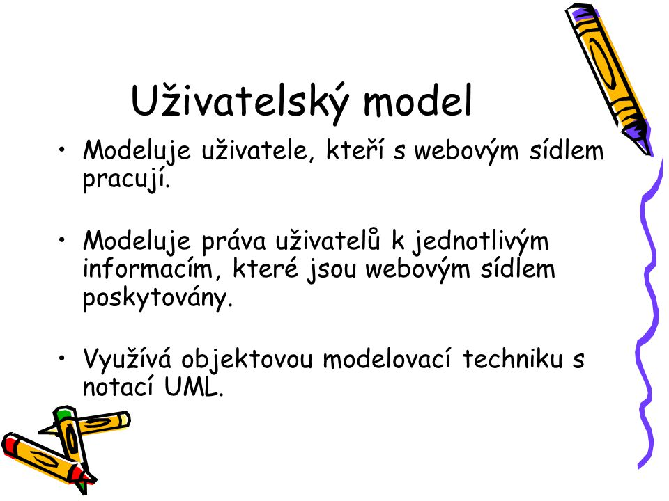 Uživatelský model Modeluje uživatele, kteří s webovým sídlem pracují.