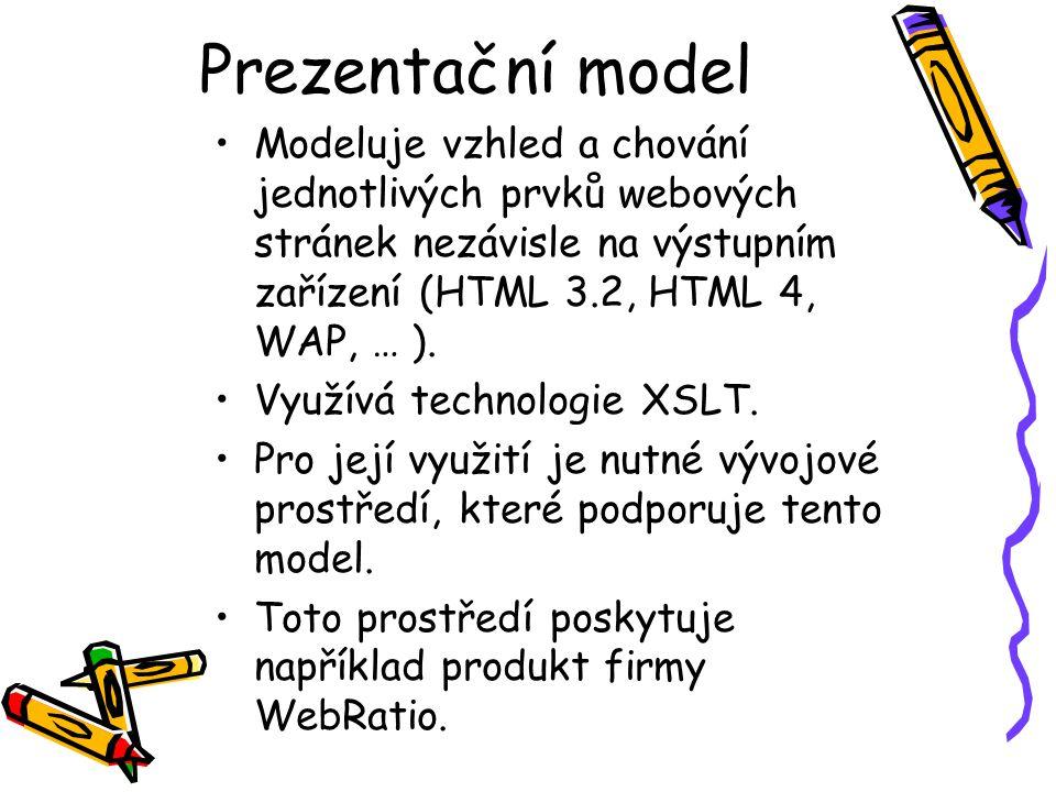 Prezentační model Modeluje vzhled a chování jednotlivých prvků webových stránek nezávisle na výstupním zařízení (HTML 3.2, HTML 4, WAP, … ).