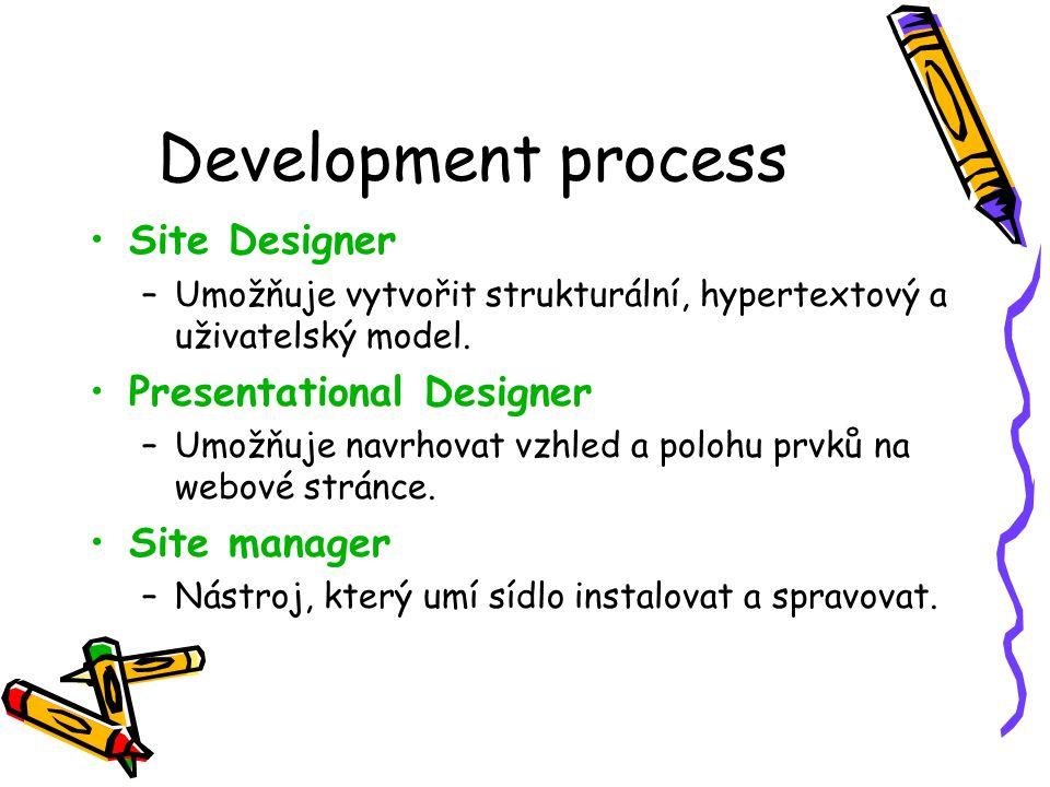 Development process Site Designer –Umožňuje vytvořit strukturální, hypertextový a uživatelský model.