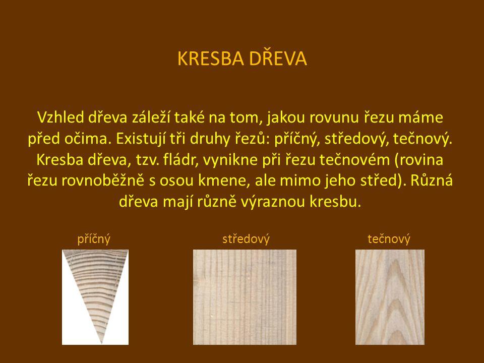 KRESBA DŘEVA Vzhled dřeva záleží také na tom, jakou rovunu řezu máme před očima. Existují tři druhy řezů: příčný, středový, tečnový. Kresba dřeva, tzv