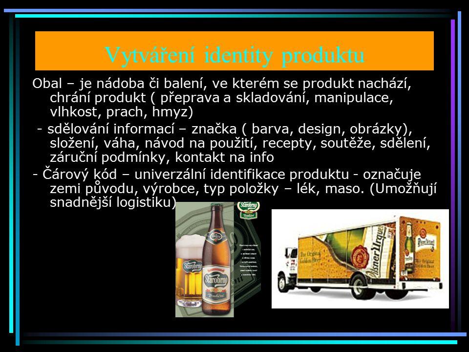 Vytváření identity produktu Obal – je nádoba či balení, ve kterém se produkt nachází, chrání produkt ( přeprava a skladování, manipulace, vlhkost, prach, hmyz) - sdělování informací – značka ( barva, design, obrázky), složení, váha, návod na použití, recepty, soutěže, sdělení, záruční podmínky, kontakt na info - Čárový kód – univerzální identifikace produktu - označuje zemi původu, výrobce, typ položky – lék, maso.