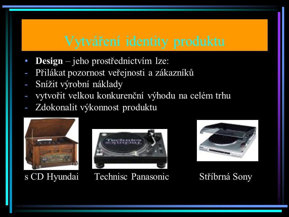 Vytváření identity produktu Design – jeho prostřednictvím lze: -Přilákat pozornost veřejnosti a zákazníků -Snížit výrobní náklady -vytvořit velkou konkurenční výhodu na celém trhu -Zdokonalit výkonnost produktu s CD Hyundai Technisc Panasonic Stříbrná Sony